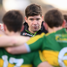 Eamonn Fitzmaurice speaks to his players following the Football League Division 1 Round 1 win over Donegal at O'Donnell Park in Letterkenny, Co Donegal. Photo by Stephen McCarthy/Sportsfile