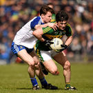 Paul Murphy, Kerry, in action against Karl O'Connell, Monaghan in Clones during last year's clash between the sides. Photo by Stephen McCarthy / Sportsfile