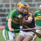 Kerry's Paudie O'Connor takes on Wexford's David Redmond during last Sunday's National League clash between the sides in Wexford Park. Photo by Gerard Hore