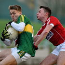 Killian Spillane, Kerry, in action against John Mullins, Cork during last year's Under 21 final. The two teams meet again next week for the 2017 decider in Pairc Uí Rinn. Photo by Diarmuid Greene/Sportsfile