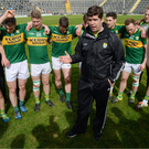Kerry manager Eamonn Fitzmaurice addresses the team following the Allianz Football League Division 1 Round 7 match between Kerry and Tyrone at Fitzgerald Stadium. Photo by Cody Glenn/Sportsfile