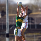 Anthony Maher of Kerry in action against Padraig McNulty of Tyrone. Photo: Cody Glenn/Sportsfile