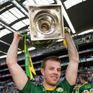 Kerry captain Fionn Fitzgerald with the cup following the Allianz Football League Division 1 Final match between Dublin and Kerry at Croke Park in Dublin. Photo by Stephen McCarthy/Sportsfile