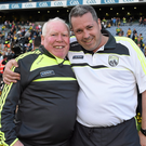 Kerry team kit men Vincent Linnane, left, and Niall O'Callaghan celebrate after the 2014 All Ireland SFC Final win over Donegal