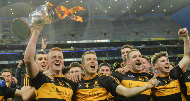 Dr. Crokes captain Johnny Buckley celebrates with the Andy Merrigan Cup after the AIB GAA Football All-Ireland Senior Club Championship Final match between Dr. Crokes and Slaughtneil at Croke Park in Dublin