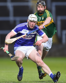 Ben Conroy of Laois in action against Darren Dineen of Kerry during the Allianz Hurling League Division 1B Relegation Play-Off in April
