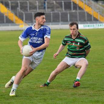 Kieran Donovan, Shannon Rangers and Danny Wren St Brendans in action during the County SFC qualifier at Austin Stack Park Tralee. Photo by Domnick Walsh / Eye Focus