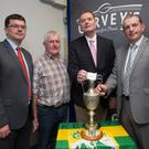 Tim Murphy (Chairman KCB) and Kevin McCarthy make the draw for the Garvey's SuperValu, Senior Hurling Championship at Austin Stack Pavilion, Tralee on Monday evening with Jim Garvey (Garvey's SuperValu) and Ger McCarthy (Hurling Officer Kerry County Board) looking on
