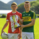 Mark Collins, left, of Cork and Johnny Buckley of Kerry during the Munster Senior Football Championship launch at Muckross House, Killarney. Photo by Sportsfile