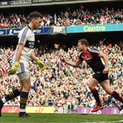 Andy Moran of Mayo, centre, celebrates after scoring his side's second goal during the GAA Football All-Ireland Senior Championship Semi-Final Replay match between Kerry and Mayo at Croke Park, Dublin. Photo: Brendan Moran/Sportsfile