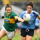 Niamh Collins of Dublin in action against Anna Galvin of Kerry during the TG4 Ladies Football All-Ireland Senior Championship Semi-Final match between Dublin and Kerry at Semple Stadium in Thurles, Co. Tipperary. Photo by Matt Browne/Sportsfile