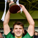 Kerry captain Darragh Shanahan collects the Richie McElligott Cup.