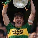 Kerry captain David Clifford lifts the trophy following his side's victory in Ireland All-Ireland Minor Football Championship Final against Derry at Croke Park in Dublin last Sunday. Clifford scored 4-4 in a man of the match performance. Photo by Sportsfile