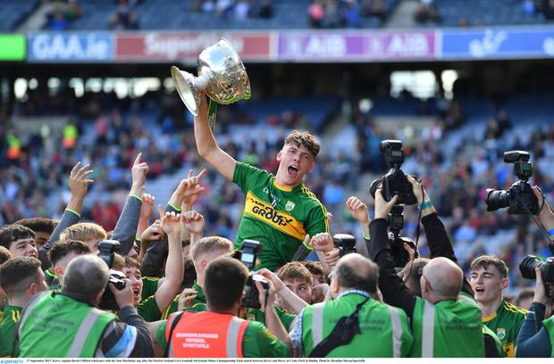 Kerry captain David Clifford celebrates with the Tom Markham cup after the Electric Ireland GAA Football All-Ireland Minor Championship Final match between Kerry and Derry at Croke Park in DublinPhoto by Brendan Moran/Sportsfile