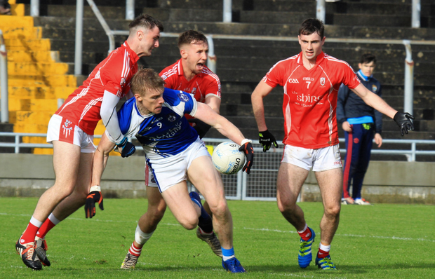 Tommy Walsh, Kerins O'Rahillys, is well marked by East Kerry's Dan O'Brien, Dan O'Donoghue and Shane Cronin during their County SFC quarter-final in Austin Stack Park, Tralee last Saturday