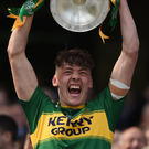 Last year's celebrations as Kerry captain David Clifford lifts the 2017 trophy. Photo by Seb Daly/Sportsfile