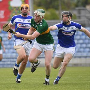 Kerry's Daniel Collins holds off Laois' PJ Scully during last Sunday's McDonagh Cup Round 2 clash in Austin Stack Park. Photo by Domnick Walsh/Eye Focus
