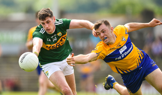 Paul Geaney of Kerry in action against Cillian Brennan of Clare during the Munster GAA Football Senior Championship semi-final match between Kerry and Clare at Fitzgerald Stadium. Photo by Matt Browne/Sportsfile