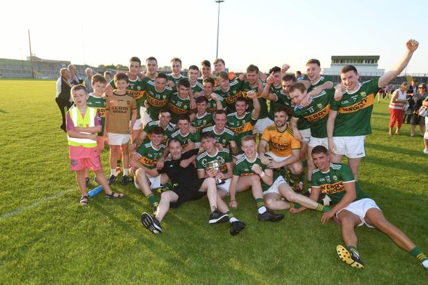 The Kerry players celebrate after retaining the Munster Junior Football Championship title with a two-point win over Cork in Austin Stack Park, Tralee. Photos by Domnick Walsh