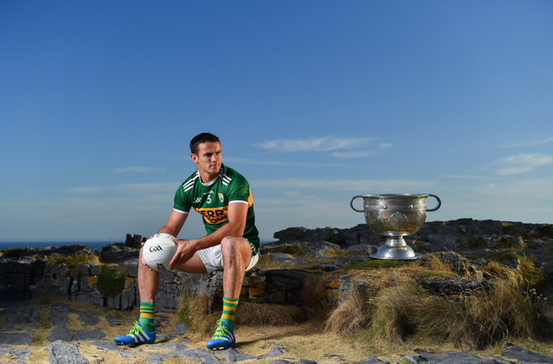 Shane Enright of Kerry with the Sam Maguire Cup during the GAA Hurling and Football All Ireland Senior Championship Series National Launch at Dun Aengus in the Aran Islands on Tuesday morning. Photo by Brendan Moran/Sportsfile