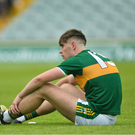 Donal O'Sullivan of Kerry dejected after the EirGrid GAA Football All-Ireland U20 Championship Semi-Final match between Kildare and Kerry. Photo by Ray Ryan/Sportsfile