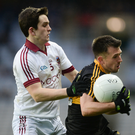 John Payne in action against Cormac O'Doherty of Slaughtneil during the 2017 All-Ireland Senior Club Championship Final at Croke Park in Dublin. Photo by Sportsfile