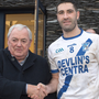 Bryan Sheehan accepts the Man of the Match award from sponsor Padraig Fogarty after the South Kerry SFC Final in Con Keating Park, Cahersiveen last Saturday