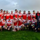 The Kilgarvan team celebrate Knockaderry Tournament final win. Photo by wildatlanticimages on Facebook