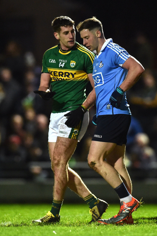 Paul Geaney of Kerry with Philip McMahon of Dublin. Photo by Diarmuid Greene/Sportsfile