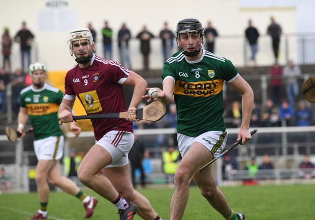 Kerry's Tomás O'Connor in action against Westmeath's Shane Clavin. Photo by Domnick Walsh / Eye Focus