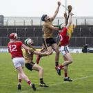 Jason Diggins rises above Adrian Phillips of Mayo to claim possession during their National Hurling League Division 2A match in Austin Stack Park, Tralee on Sunday. Photo by Domnick Walsh/Eye Focus