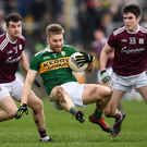 Peter Crowley in action against Johnny Duane, left, and Barry McHugh of Galway during the Allianz NFL Division 1 Round 4 match at Tuam Stadium in Galway. Photo by Sportsfile