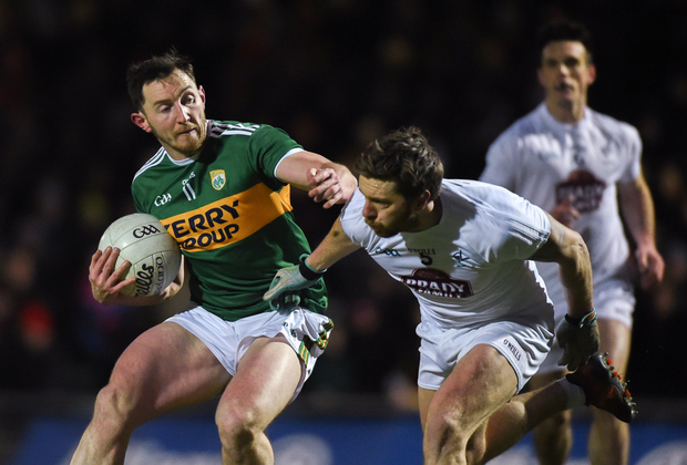 Dáithí Casey in action against Johnny Byrne of Kildare during the Allianz Football League Division 1 Round 6 match at Austin Stack Park on St Patrick's Day in 2018