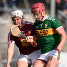 Joey Boyle of Westmeath in action against Fionán MacKessy of Kerry. Photo by Sam Barnes/Sportsfile