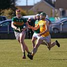 Kerry's Michael O'Leary in action against Antrim's Conor McCann during Saturday's Joe McDonagh Cup game at Dunloy. Photo by Seamus Loughran