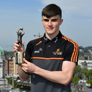 Seán O'Shea of Kerry has been voted as the PwC GAA/GPA Players of the Month for April in football. O'Shea is pictured with his award at a reception in the PwC Offices, Cork Photo by Brendan Moran / Sportsfile