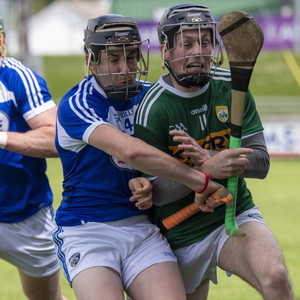 Shane Conway of Kerry (right) and Donnacha Hartnett of Laois in action. Photo By Domnick Walsh