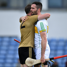 Patrick Kelly of Kerry and James Gorman of Offaly after the Joe McDonagh Cup match at Austin Stack Park. Photo by Brendan Moran/Sportsfile