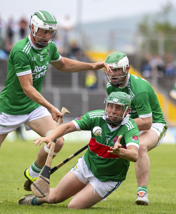 Ballyduff's Paud Costello and Richard Nolan, Crotta O'Neills, in action during their County SHC Round 1 at Austin Stack Park. Photo by Domnick Walsh