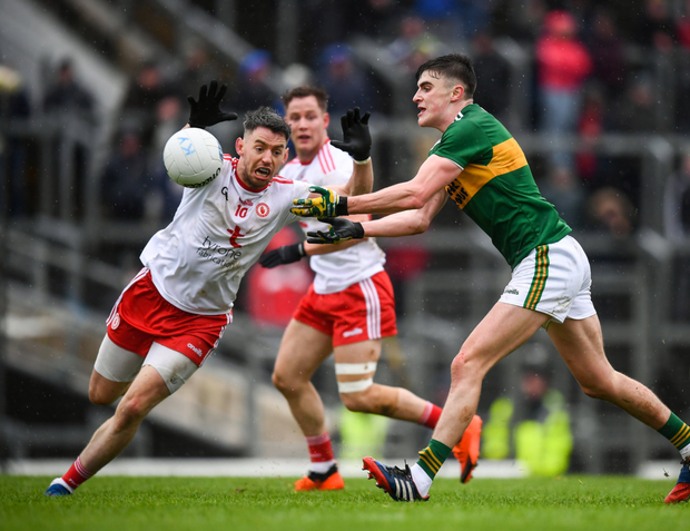 Sean O'Shea of Kerry and Matthew Donnelly of Tyrone during the Allianz Football League Division 1 Round 1 match in January at Fitzgerald Stadium in Killarney, Kerry. Photo by Stephen McCarthy/Sportsfile