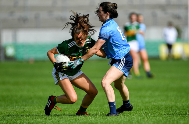 Ciara Murphy of Kerry in action against Lyndsey Davey of Dublin during the TG4 All-Ireland Ladies Football Senior Championship Quarter-Final match between Dublin and Kerry