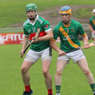 Paudie Quille (Crotta) and Paudie O Connor (Kilmoyley) in the Garveys Supervalu Co Senior championship quarter-final in Austin Stack Park on Saturday night. Photo by Tom O Donoghue