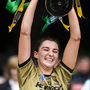 Kerry captain Niamh Leen lifts the Kathleen Mills Cup after the Liberty Insurance All-Ireland Premier Junior Camogie Championship Final match between Kerry and Limerick at Croke Park in Dublin. Photo by Sportsfile