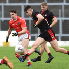 Sean O'Shea, Kenmare Shamrocks, in full flight chased by West Kerry's Brian Ó Beaglaoich in the Garvey's SuperValu County SFC Round 3 in Fitzgerald Stadium, Killarney on Sunday. Photo by Michelle Cooper Galvin