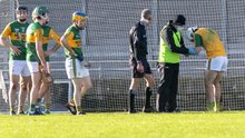 Kerry keeper Martin Stackpoole receives medical attention after injuring his wrist against Carlow last weekend. Photo by Domnick Walsh / Eye Focus
