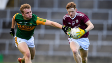 Oisin Gormley of Galway in action against Alan Dineen of Kerry during the EirGrid GAA Football All-Ireland U20 Championship Semi-Final match between Kerry and Galway at the LIT Gaelic Grounds in Limerick. Photo by Matt Browne/Sportsfile