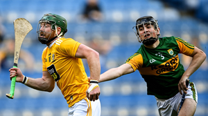 Tomás O'Connor in action against Antrim in the Joe McDonagh Cup final in Croke Park last December. Photo by Sportsfile