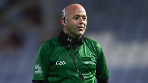 The introduction of the sin-bin in hurling will be seen as a truly progressive measure and will give referees - including Richie Fitzsimons (above) for example, pictured last December - an added tool at their disposal. Photo by Sportsfile