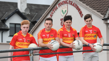 Valentia Island footballers Paul O'Connor, second from left, with his team mates Sony Curran, Joe Lynch and Jack Regan at the club's pitch in Chapeltown in 2019 when the club was struggling for senior footballers. This week the club has had to put plans in place to amalgamate with some neighbouring club due to falling numbers of senior players, with just eight footballers committed to playing in 2021. Photo: Domnick Walsh