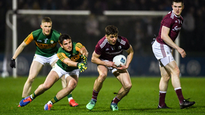 Galway's Michael Daly tries to evade the challenge of Liam Kearney during the Allianz Football League Division 1 Round 2 between Kerry and Galway at Austin Stack Park in Tralee in February 2020. Photo by Diarmuid Greene / Sportsfile